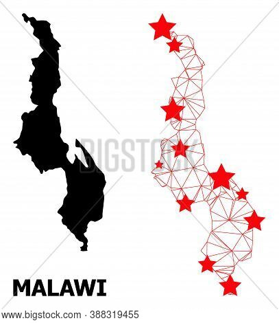 Wire Frame Polygonal And Solid Map Of Malawi. Vector Model Is Created From Map Of Malawi With Red St