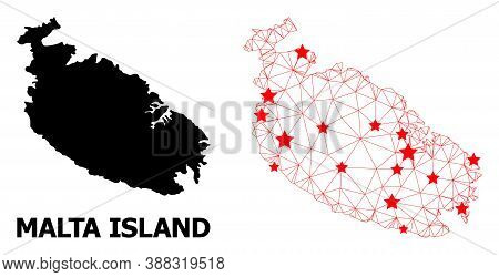 2d Polygonal And Solid Map Of Malta Island. Vector Model Is Created From Map Of Malta Island With Re