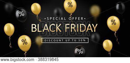 Black Friday Sale, Banner, Poster, Logo. Golden Color Inscription On Dark Background With Shiny Ball