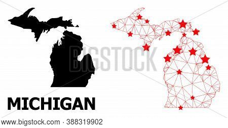 Wire Frame Polygonal And Solid Map Of Michigan State. Vector Model Is Created From Map Of Michigan S