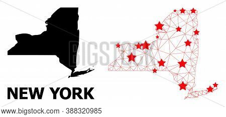 Wire Frame Polygonal And Solid Map Of New York State. Vector Structure Is Created From Map Of New Yo