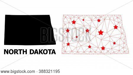 Wire Frame Polygonal And Solid Map Of North Dakota State. Vector Model Is Created From Map Of North