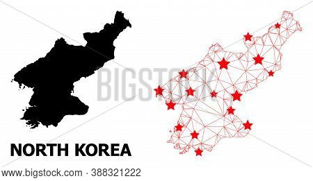 2d Polygonal And Solid Map Of North Korea. Vector Model Is Created From Map Of North Korea With Red
