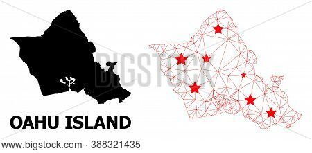 Carcass Polygonal And Solid Map Of Oahu Island. Vector Structure Is Created From Map Of Oahu Island
