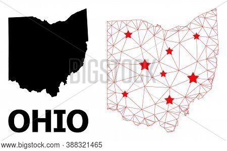 2d Polygonal And Solid Map Of Ohio State. Vector Model Is Created From Map Of Ohio State With Red St
