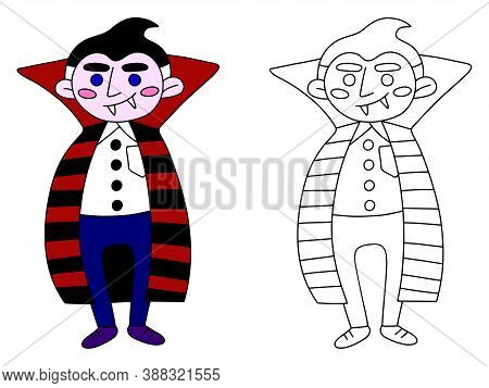 Funny Smiling Vampire Children Coloring Page Stock Vector Illustration. Halloween Cartoon Character
