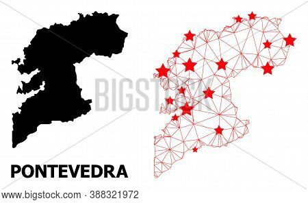 Carcass Polygonal And Solid Map Of Pontevedra Province. Vector Structure Is Created From Map Of Pont