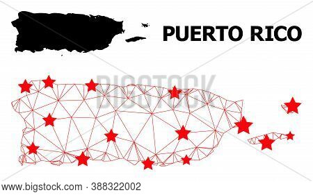 Wire Frame Polygonal And Solid Map Of Puerto Rico. Vector Structure Is Created From Map Of Puerto Ri