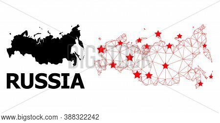 Wire Frame Polygonal And Solid Map Of Russia. Vector Structure Is Created From Map Of Russia With Re