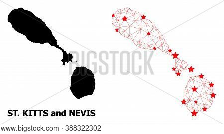 2d Polygonal And Solid Map Of Saint Kitts And Nevis. Vector Model Is Created From Map Of Saint Kitts