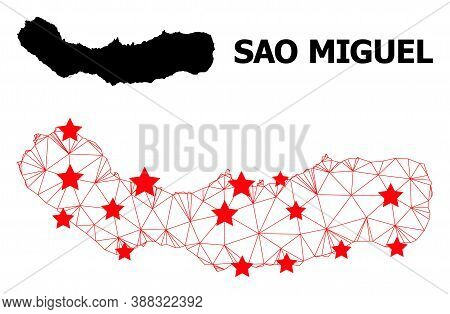 Mesh Polygonal And Solid Map Of Sao Miguel Island. Vector Model Is Created From Map Of Sao Miguel Is