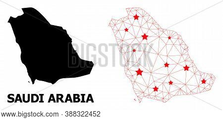 Carcass Polygonal And Solid Map Of Saudi Arabia. Vector Model Is Created From Map Of Saudi Arabia Wi