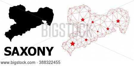 Network Polygonal And Solid Map Of Saxony State. Vector Model Is Created From Map Of Saxony State Wi