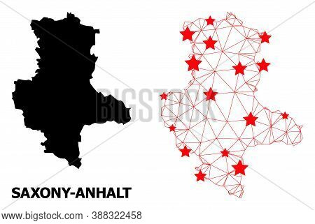 Mesh Polygonal And Solid Map Of Saxony-anhalt State. Vector Structure Is Created From Map Of Saxony-