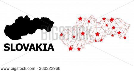 Network Polygonal And Solid Map Of Slovakia. Vector Model Is Created From Map Of Slovakia With Red S