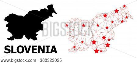 Wire Frame Polygonal And Solid Map Of Slovenia. Vector Model Is Created From Map Of Slovenia With Re