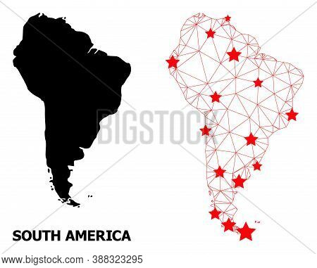 2d Polygonal And Solid Map Of South America. Vector Model Is Created From Map Of South America With
