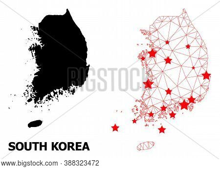 Carcass Polygonal And Solid Map Of South Korea. Vector Structure Is Created From Map Of South Korea