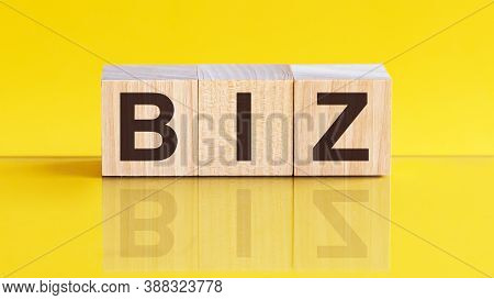Biz Word Is Made Of Wooden Building Blocks Lying On The Yellow Table