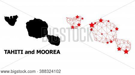 Wire Frame Polygonal And Solid Map Of Tahiti And Moorea Islands. Vector Structure Is Created From Ma