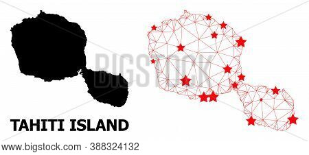 Network Polygonal And Solid Map Of Tahiti Island. Vector Model Is Created From Map Of Tahiti Island