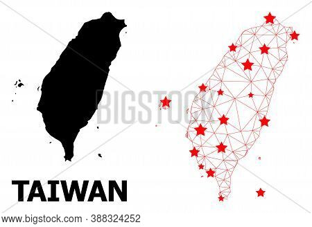 Wire Frame Polygonal And Solid Map Of Taiwan. Vector Structure Is Created From Map Of Taiwan With Re