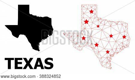 Mesh Polygonal And Solid Map Of Texas State. Vector Structure Is Created From Map Of Texas State Wit