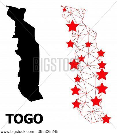 2d Polygonal And Solid Map Of Togo. Vector Model Is Created From Map Of Togo With Red Stars. Abstrac
