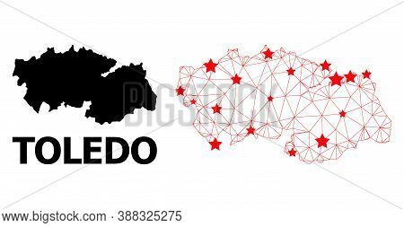 Network Polygonal And Solid Map Of Toledo Province. Vector Model Is Created From Map Of Toledo Provi