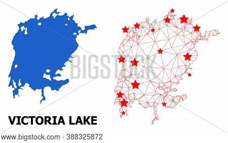 Wire Frame Polygonal And Solid Map Of Victoria Lake. Vector Structure Is Created From Map Of Victori