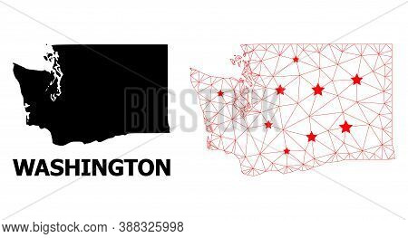 Wire Frame Polygonal And Solid Map Of Washington State. Vector Structure Is Created From Map Of Wash