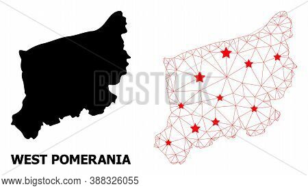 Wire Frame Polygonal And Solid Map Of West Pomerania Province. Vector Model Is Created From Map Of W