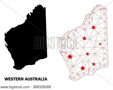 Network Polygonal And Solid Map Of Western Australia. Vector Structure Is Created From Map Of Wester