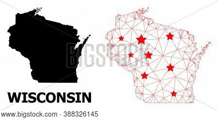 Network Polygonal And Solid Map Of Wisconsin State. Vector Structure Is Created From Map Of Wisconsi