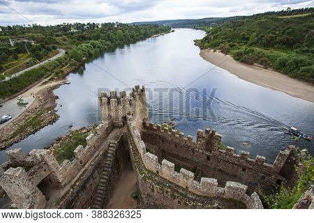 Almourol, Portugal - Oct 5, 2020: Almourol Medieval Castle Rebuilt Atop Of An Islet In The Middle Of