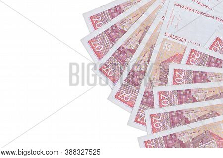 20 Croatian Kuna Bills Lies Isolated On White Background With Copy Space. Rich Life Conceptual Backg