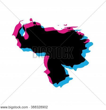 Venezuela Country Silhouette With Chromatic Aberration Effect.