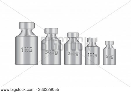 Kg Weight Mass Silver Chrome Metal Realistic Vector. Old Press Collection In Realistic Design. Steel