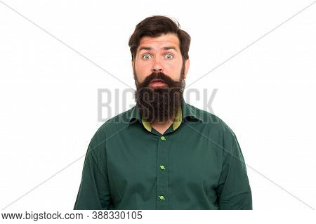Feeling Good Unshaven Hair. Surprised Hipster Isolated On White. Bearded Man With Unshaven Face Skin