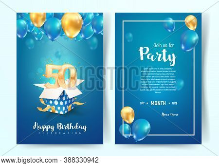 Celebration Of 50 Th Years Birthday Vector Invitation Card. Fifty Years Anniversary Celebration Broc