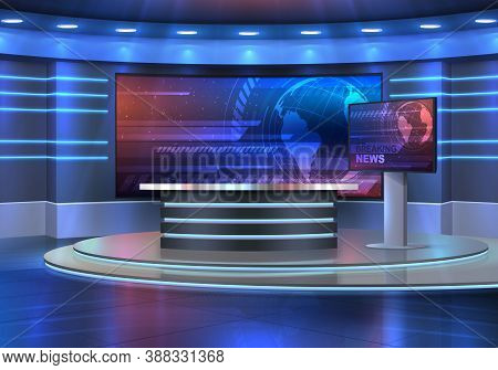 Studio Interior For News Broadcasting, Vector Empty Placement With Anchorman Table On Pedestal, Digi