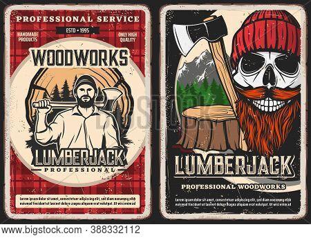 Lumberjack Service, Woodwork Vintage Posters. Strong Man In Shirt, Holding Felling Axe, Lumberjack S