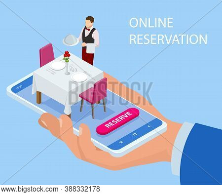 Online Reserved Table In Restaurant. Concept Reserved In Cafe. Isometric Concept Of Table Online Res