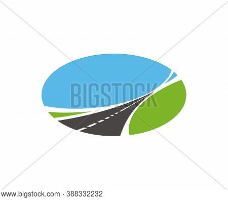 Road, Pathway, Highway Vector Icon. Tapering Paved Road Running Through Green Fields With Blue Sky I