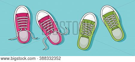 Colorful Pair Sneakers With Shadow On Blue Background. Top View. Casual Youth Shoes. Vector Illustra