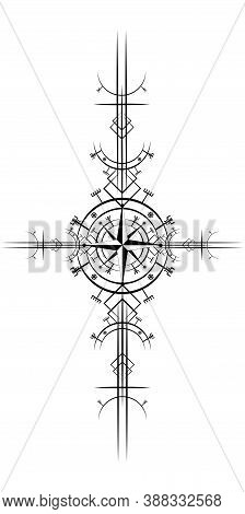 Magic Ancient Viking Art Deco, Wind Rose Magic Navigation Compass Ancient. The Vikings Used Many Sym