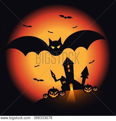 Halloween Night Scenery Background Decorative With Pumpkin, Castle, And Bats. Design Element For Hal