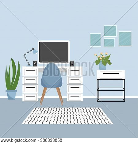 Modern Interior Of Workplace With Table, Monitor, Lamp, Plants. Elegant Colours, Education Or Work C