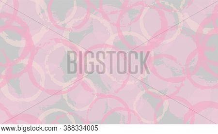 Summer Painted Circles Geometry Fabric Print. Circular Stain Overlapping Elements Vector Seamless Pa