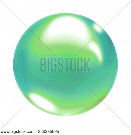 Green Blue Gradient Round Air Soap Bubble Ball.a Multicolored Circle Isolated On A White Background.